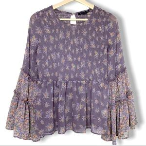 AEO Chiffon Smocked Floral Bell Sleeve Top